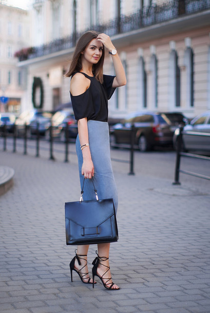 Skirt: blue suede skirt, blue skirt, midi skirt, suede skirt ...
