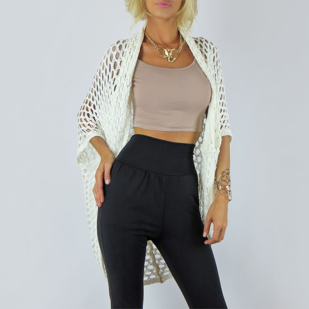 Ivory oversized open knit long loose cardigan dolman crochet sweater top s m