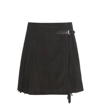 skirt wrap skirt pleated suede black