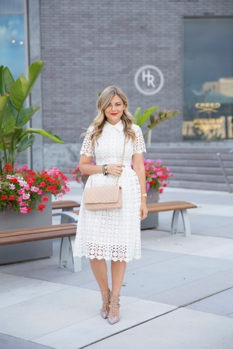 suburban faux-pas blogger dress bag shoes white dress valentino chanel bag lace dress white lace dress nude bag shoulder bag chanel silver