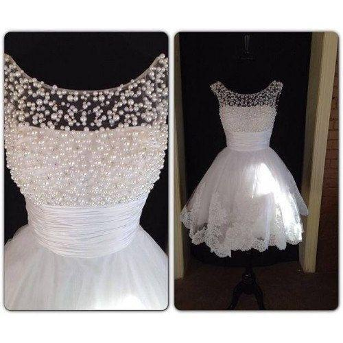 Discount 2015 Fascinating Scoop Neck Cocktail Dresses White Pearls Beaded Bodice A-Line Short Lace Appliqued Homecoming Dress Online with $116.69/Piece | DHgate