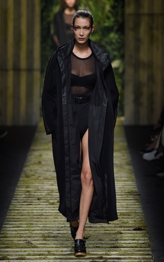 coat top bra see through top all black everything mules bella hadid runway milan fashion week 2016 max mara