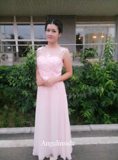 sheer lace prom dress,pearl pink prom dress,long prom dress,lace prom dress