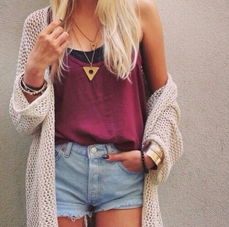 cardigan white tank top shorts tumblr outfit summer top summer shorts shirt top jewels red tumblr shirt love cute urban urban outfitters original hipster