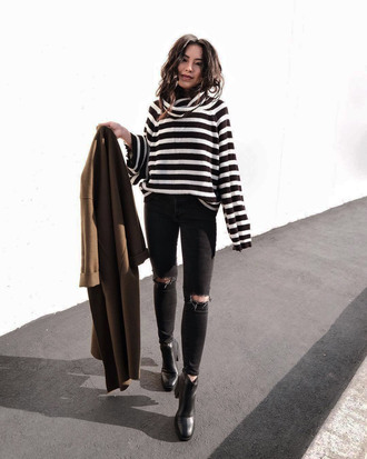 sweater tumblr stripes striped sweater turtleneck turtleneck sweater denim jeans black jeans ripped jeans boots black boots ankle boots coat brown coat