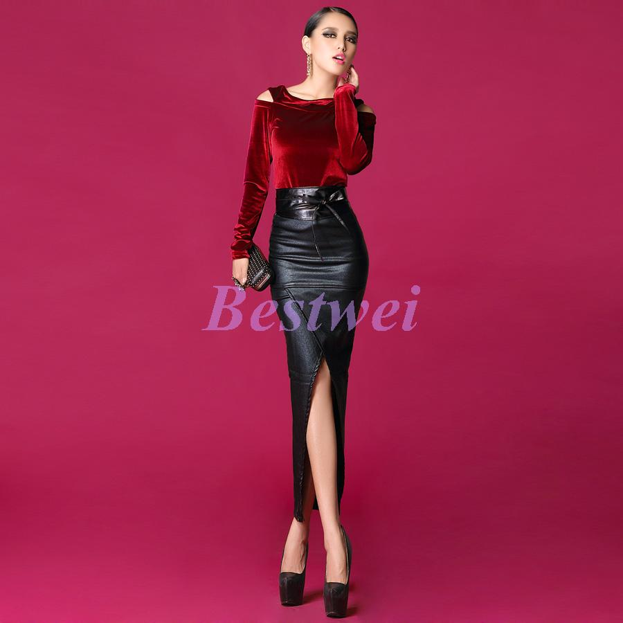 Lady Fashion Winter New Collection European Style Sexy Leather Skirts Slit thick Fleece Placketing Long Skirt Women-in Skirts from Apparel & Accessories on Aliexpress.com