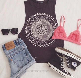 top clothes underwear shoes shorts sunglasses bralette bra coral pink shirt tank top lace bra chuck taylor all stars high waisted shorts