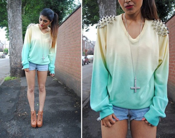 sweater dip dye studded shoulders blouse spikes rainbows yellow