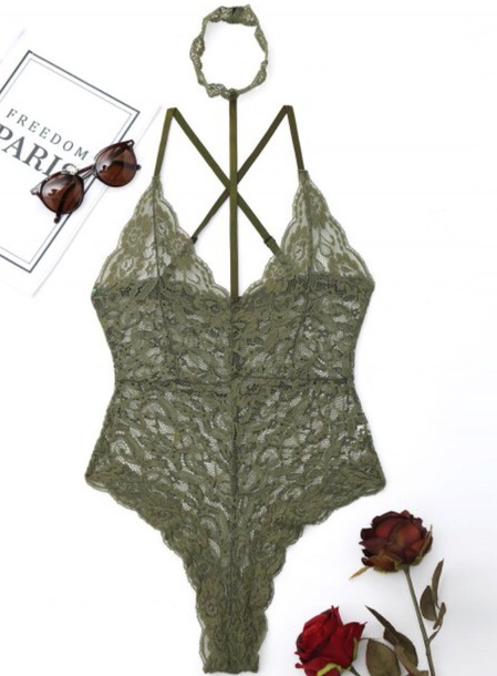 underwear girly green lace lingerie bodysuit lace lingerie one piece
