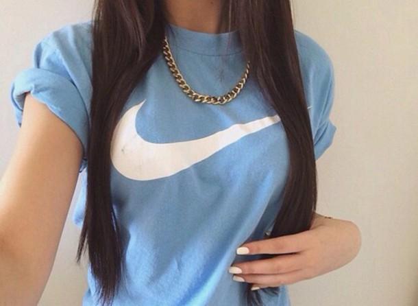 shirt nike blue t-shirt tumblr shirt tumblr nike sweatshirt nike sportswear baby blue nike shirts
