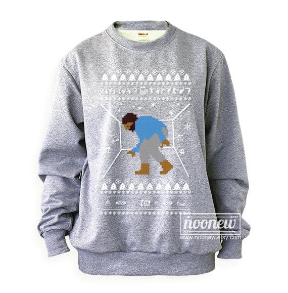 Bling Ugly Christmas Sweater Sweatshirt Drake XMAS Grey And White ...