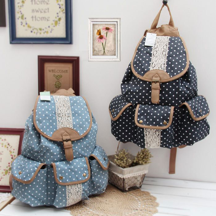 Vintage Navy Blue Lace Polka Dot Pocket Backpack Schoolbag Campus Rucksack-in Backpacks from Luggage & Bags on Aliexpress.com