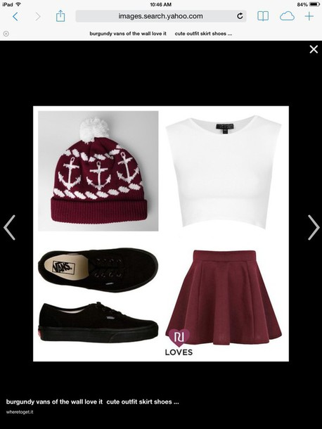 shirt burgundy skirt