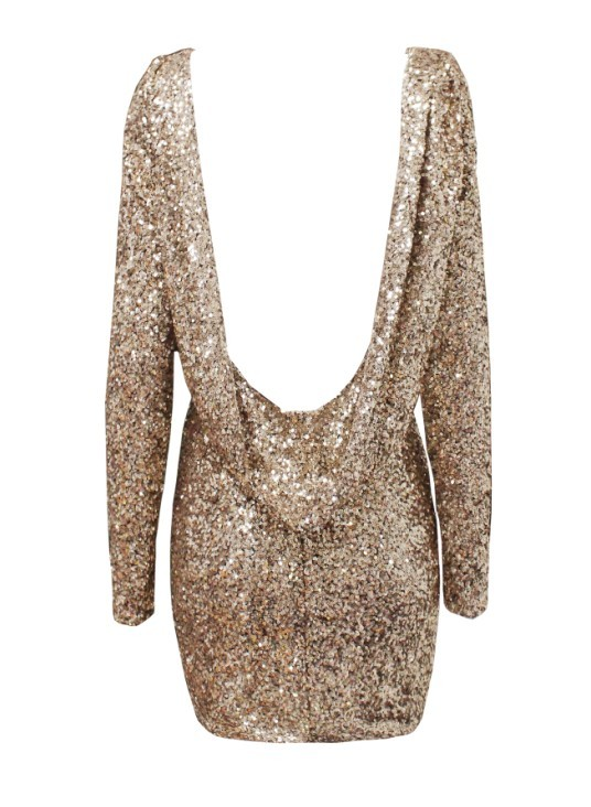 Chanelle Dress – Gold    D.M. Retro