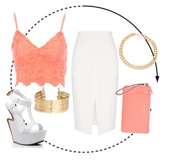 shirt coral pink white skirt skirt white knee length skirt white heels white platforms gold accessories gold chain kate spade