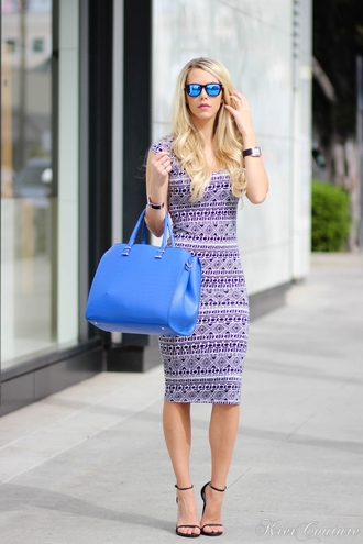 fashion addict blogger bodycon skirt pencil dress bodycon dress blue bag mirrored sunglasses dress shoes bag jewels