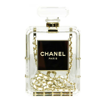 CHANEL Clear Plexiglass 'No. 5' Perfume Bottle Clutch W. Chain Strap c. 2014 on Wanelo