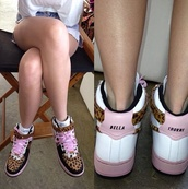 shoes,bella thorne,nike,leopard print,pink