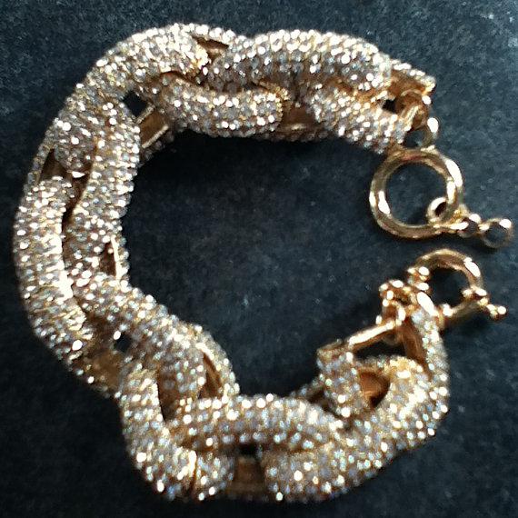 Chunky bracelet gold pave j style design inspired bar link crew chain bracelet hip hop gift teen czs cubic zirconium charm bold luxury