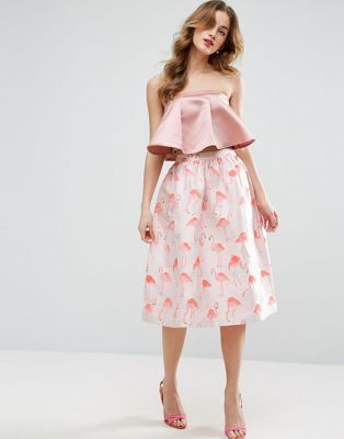 ASOS Prom Skirt in Flamingo Jacquard at asos.com