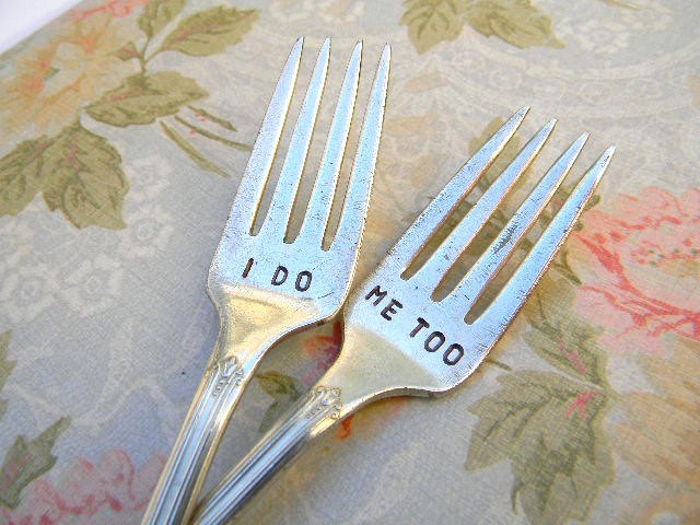 I Do Me Too Vintage Wedding Forks For the Bride and Groom