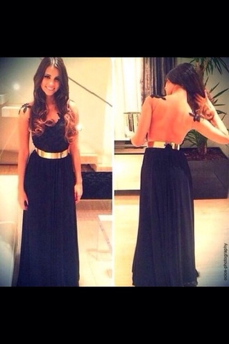 dress black dress prom dress golden belt lace dress
