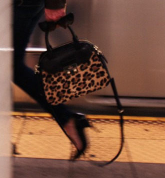 bag black bag purse leopard print animal print