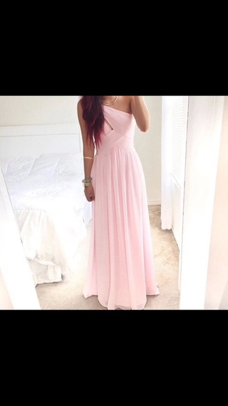 dress pink light pink pink dress prom dress long dress one shoulder one shoulder dress