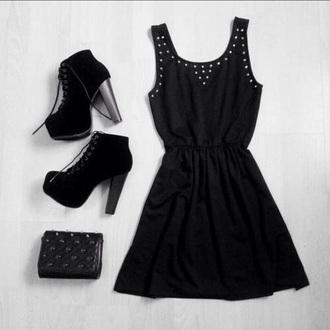 dress black dress studded shoes bag