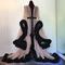 "Boudoir by d'lish — black & tan ""cassandra"" extravagant dressing gown"