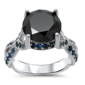 jewels round cut black diamond ring blue sapphire ring 3.0ct round cut black diamond engagement ring with blue sapphire side stones evolees.com
