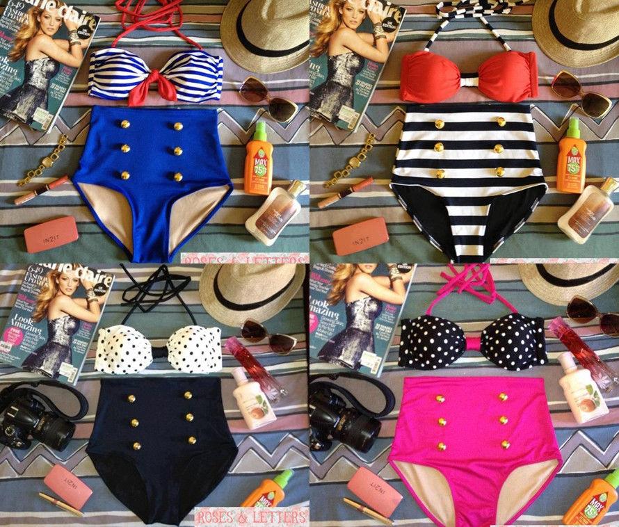 Vintage retro pin up nautical sailor stripes high waist bikini swimwear swimsuit