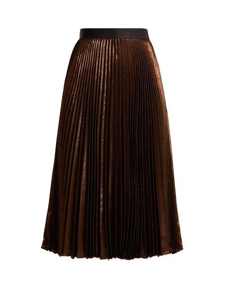 skirt pleated silk copper
