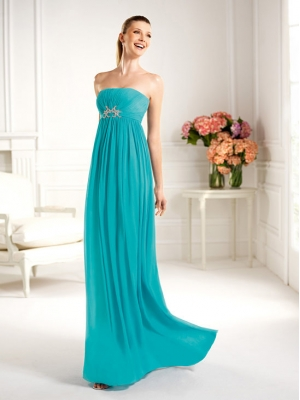 Buy Flowing Blue A-line Strapless Floor Length Prom Dress with 104.99-SinoAnt.com