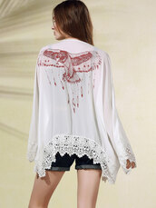 cardigan,white,birds,trendy,boho,kimono,festival,fashion,dressfo