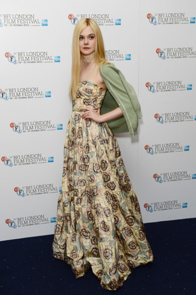 elle fanning dress cardigan green