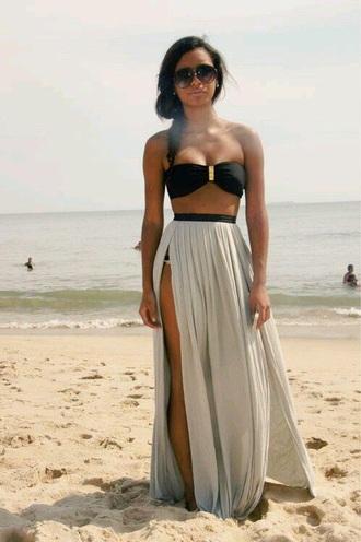 skirt maxi skirt long skirt black skirt fringe skirt slit skirt slit maxi skirt leg slit style fashion