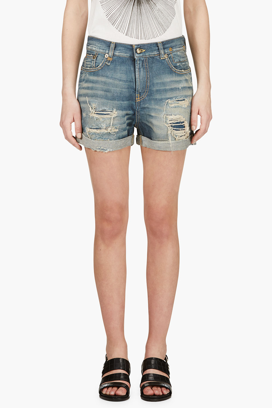 R13 Blue Shredded Denim Shorts
