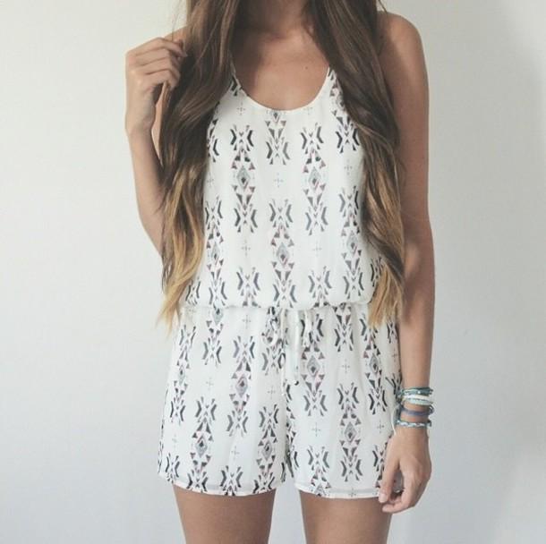 0da3ff9d054 Bu romper white romper aztec summer outfits cute girly summer white shorts cute  rompers jumpsuit white