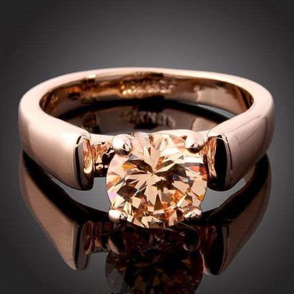 jewels ring 18k rose gold plated ring topaz ring solitaire ring