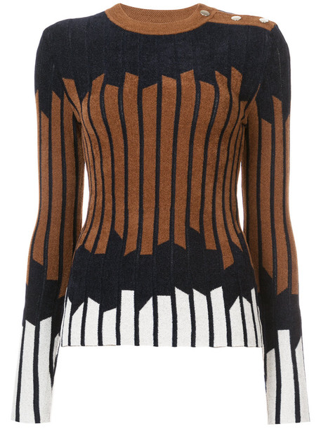 sweater women geometric print brown