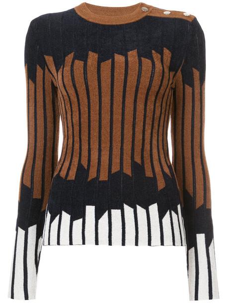Yigal Azrouel sweater women geometric print brown