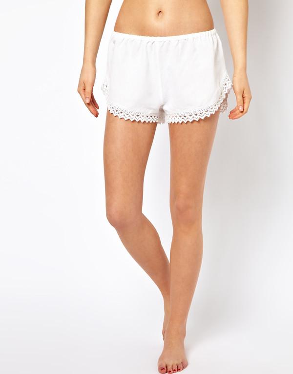 shorts white beach crochet