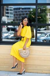 jadore-fashion,blogger,dress,bag,shoes,slingbacks,yellow dress,cult gaia bag