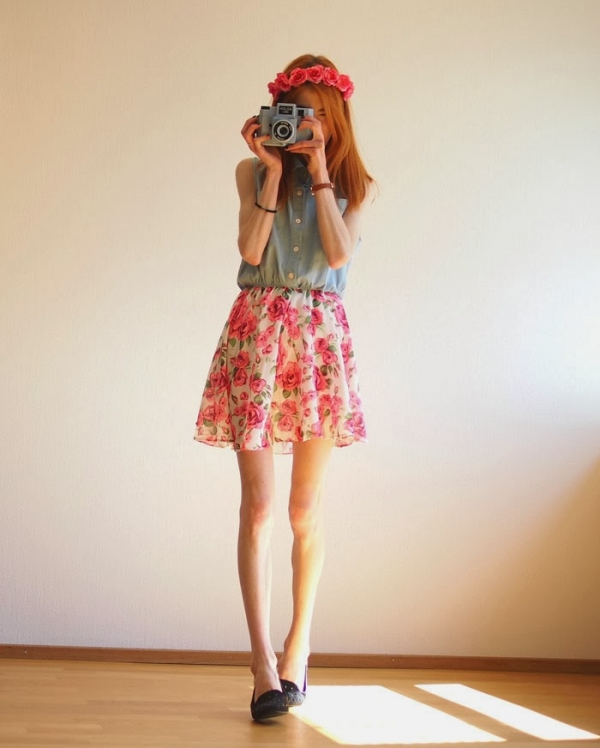 Floral Print Sleeveless Dress - OASAP.com