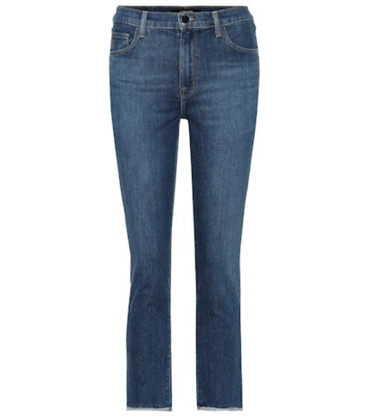 J Brand Ruby cropped high-rise jeans in blue