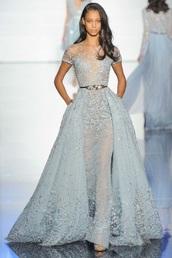 dress,blue,zuhair murad,zuhair murad prom dress,zuhair murad gown,blue dress,lace dress,cinderella,prom dress,long prom dress,wedding dress