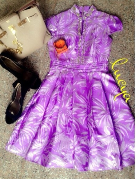 dress circle skirt cute dress purple dress chinese collar