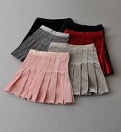 skirt,girly,pleated,pleated skirt,mini,mini skirt,velvet,crushed velvet,velvet skirt,pink,grey,red
