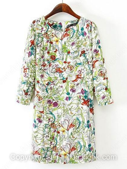White Round Neck Long Sleeve Floral Print Dress - HandpickLook.com